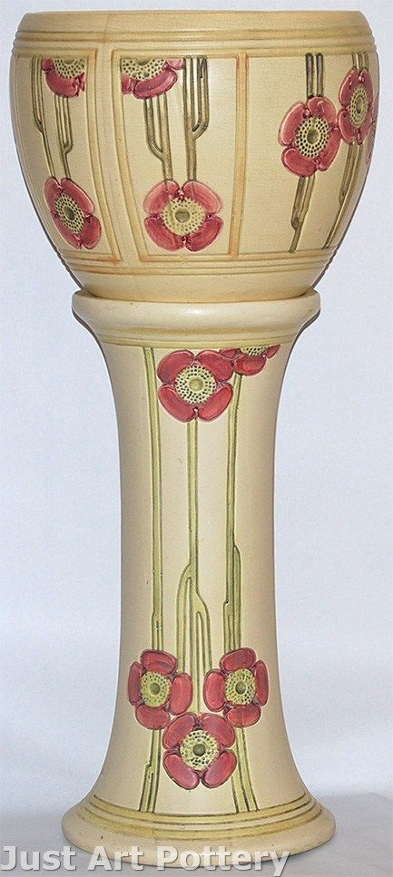 Weller Pottery Flemish Jardiniere and Pedestal from Just Art Pottery