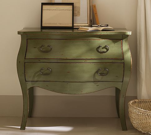 like the idea of a chest with drawers as a nightstand green chest 539 pottery barn my style. Black Bedroom Furniture Sets. Home Design Ideas