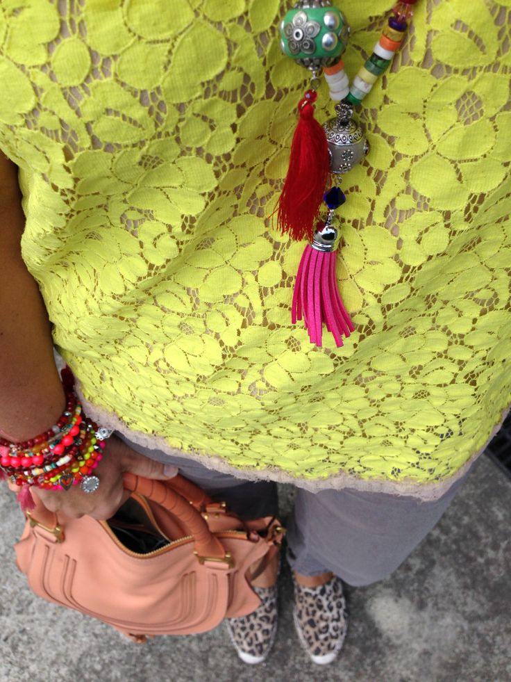 JBrand Cargo's, neon lace top, Chloe Marcie Bag, Seed espradrilles and SoniaM Designs jewellery