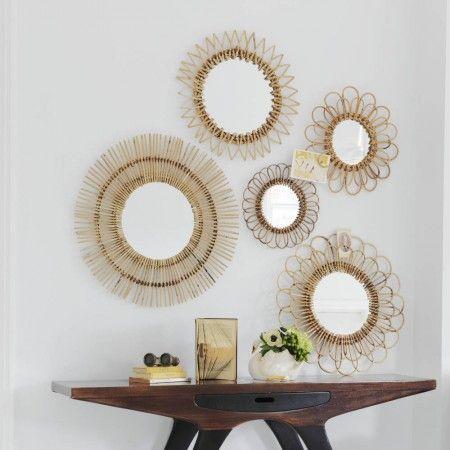 Set of 5 Rattan Wall Mirrors - View All Mirrors - Mirrors - Lighting & Mirrors