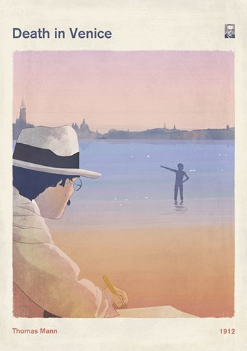 """Death in Venice, Thomas Mann - Book Cover Poster Large, Literary Gift, Literature Art. My new work is inspired by Thomas Mann's novel """"Death in Venice"""", first published in 1912 as Der Tod in Venedig. The work presents a great writer suffering writer's block who visits Venice and is liberated, uplifted, and then increasingly obsessed, by the sight of a stunningly beautiful youth. The boy in the story (Tadzio) is based on a boy (Władzio or Tadzio) Mann had seen during a visit to Venice in…"""