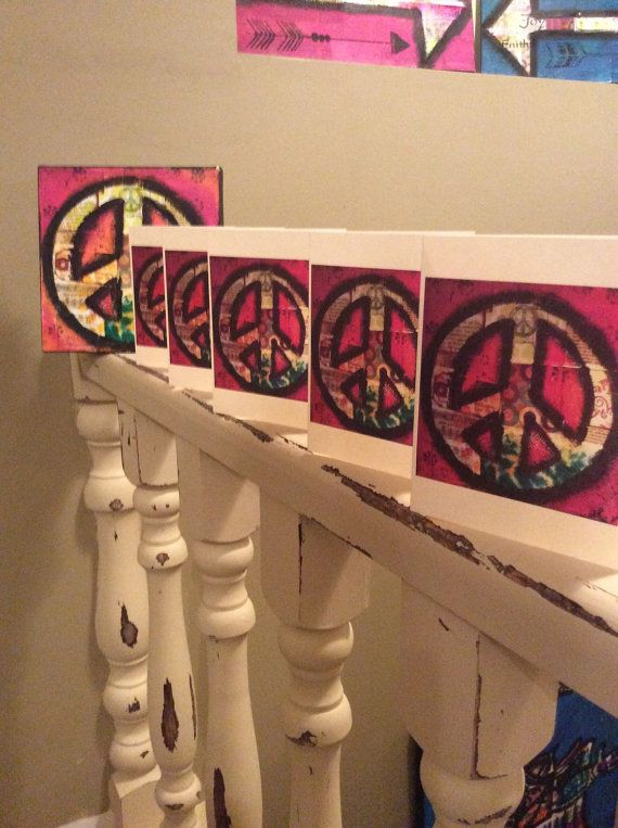 mixed media peace sign card on 65lb card by ZazziPlannerMixMedia