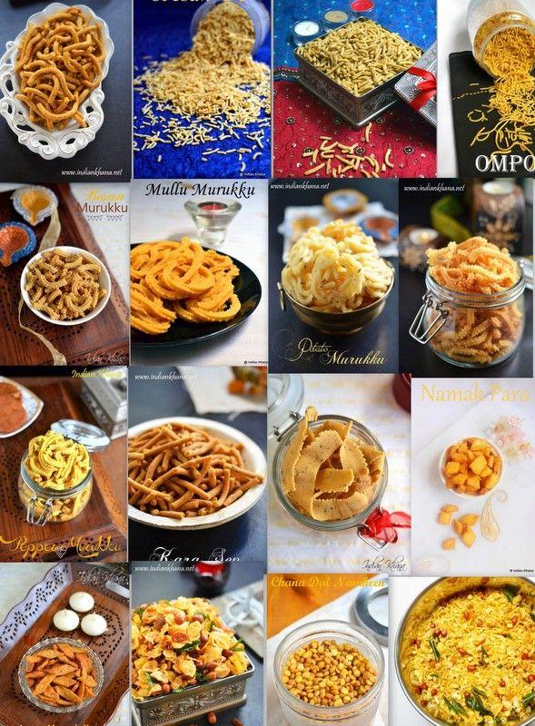 Varieties of Sev, Varieties of Chakli (Murukku), Ribbon Pakoda, Mixture, Namak Para and much more ....all diwali snacks, pakoda, vada recipes ...check it out for Diwali 2014