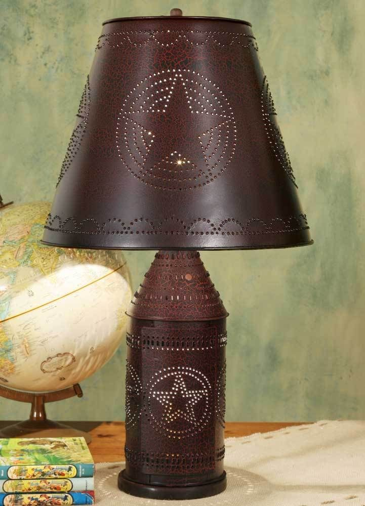 Farmhouse Country Large Tin Punched Star Paul Revere Lamp Primitive Black Red