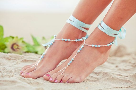 Barefoot Sandles, something blue, blue bridesmaid foot jewelry, beaded beach…
