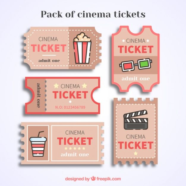 Vintage cinema tickets with red details Free Vector The post Vintage cinema tickets with red details Free Vector appeared first on Trendy. Deco Theme Cinema, Cinema Party, Printable Stickers, Cute Stickers, Ticket Cinema, Kino Box, Diy And Crafts, Paper Crafts, Ticket Design