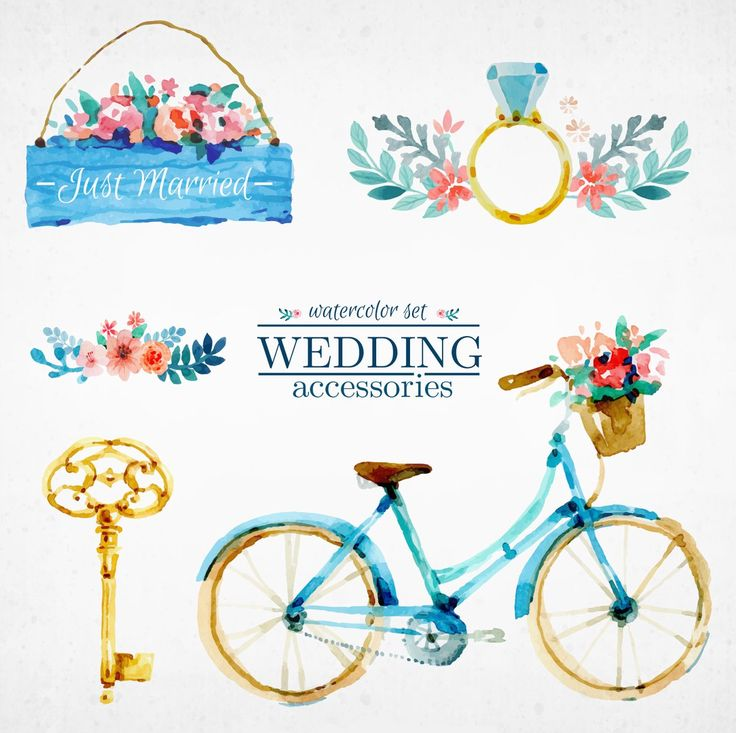 велосипед, акварель, ключ
