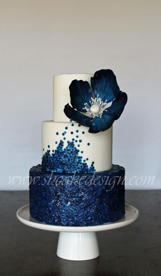 Stunning cake with edible blue sequins and flower - SB Cake Design