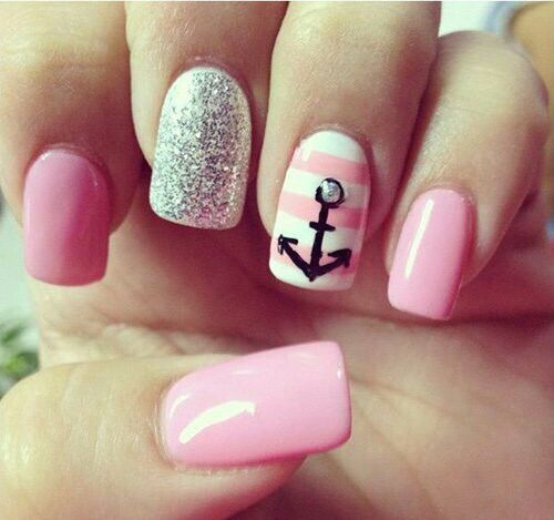 Image via We Heart It https://weheartit.com/entry/158857842 #nails #pink #sparkle #white