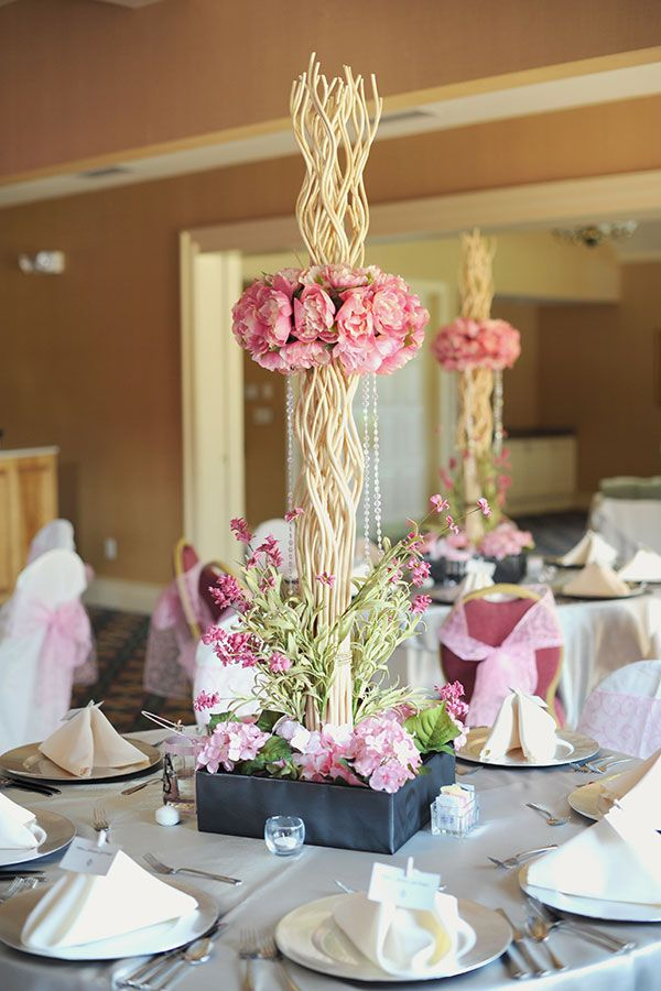 Pink Reception Table Centerpiece
