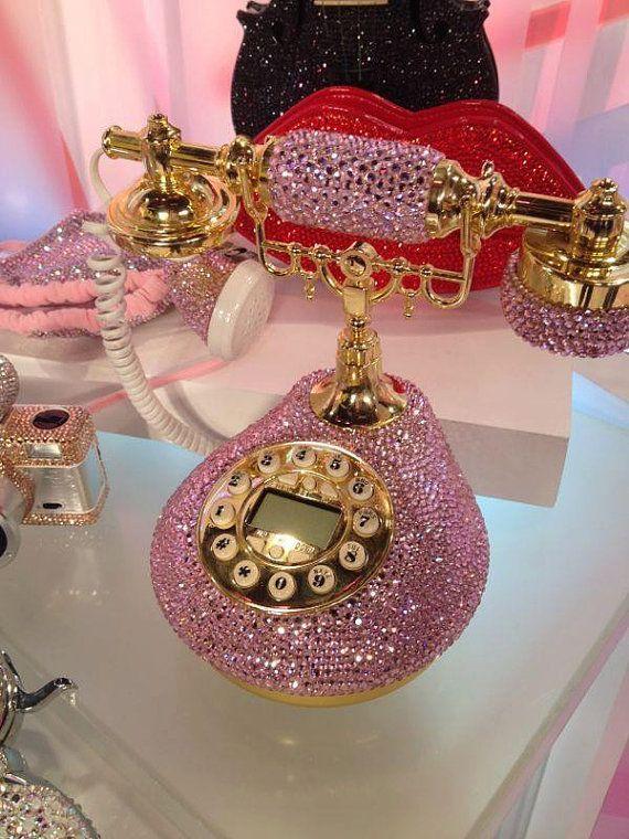 Bling Classic Vintage Pink telephone handmade w/ Swarovski Crystal element on Etsy, Sold