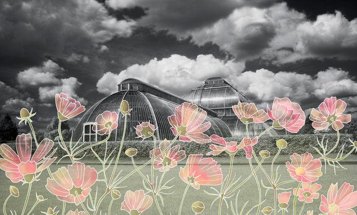 Kew in Spring (Kew Gardens)  --  Surreal illustration on urban landscapes.  Photo by Nicholas Goodden -  London © 2010 – 2017 | Cecile Vidican. All rights reserved.