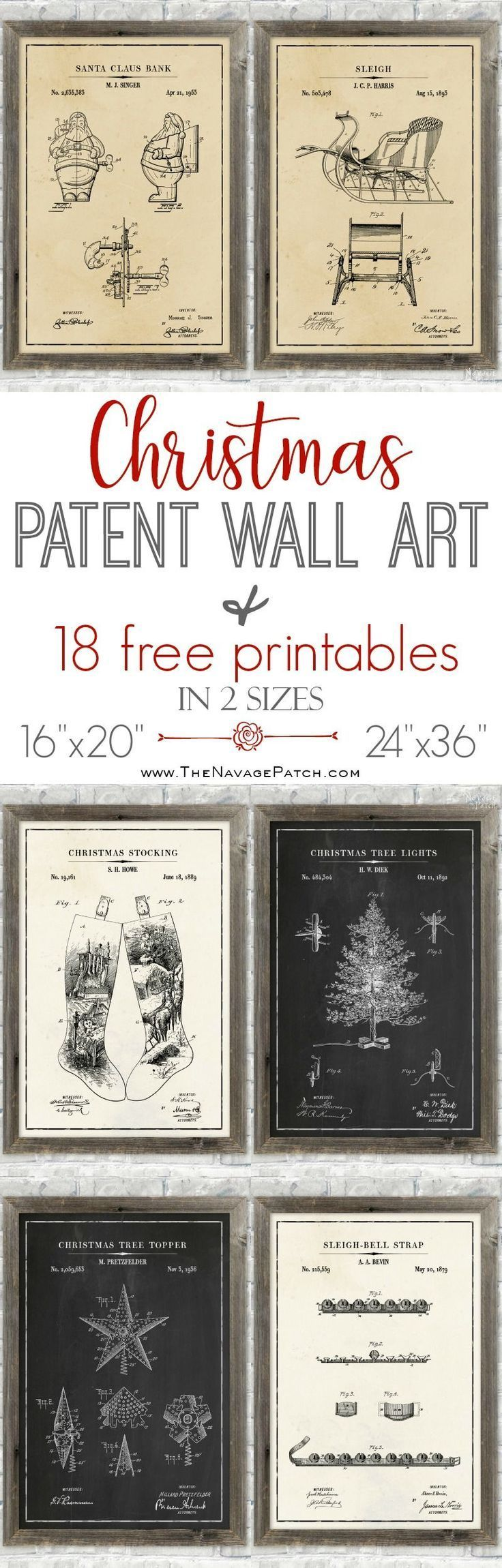 Christmas Patent Wall Art (and 18 free printables)   #FreePrintable #Christmas #Patent #WallArt   Easy and Budget Friendly Holiday Decoration  Beautiful DIY Christmas Gifts   #ChristmasFreePrintable   DIY Farmhouse Home Decor   DIY Industrial Style Home Decor   Santa and Sleigh Free Printables   TheNavagePatch.com