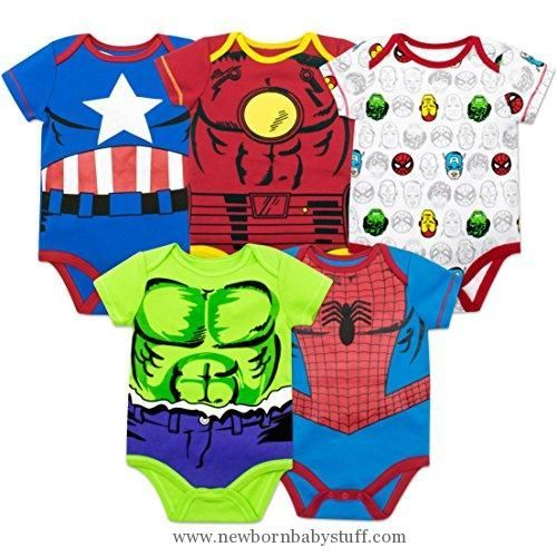 Baby Boy Clothes Marvel Baby Boys' 5 Pack Onesies - The Hulk, Spiderman, Iron Man and Captain America (0-3 Months)