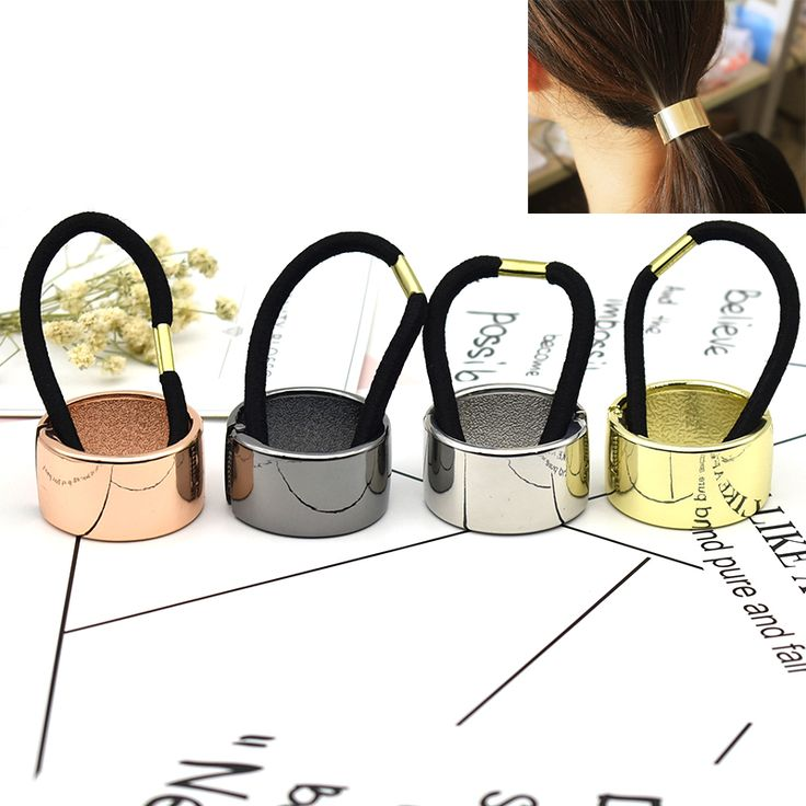 Hotsale 2017 nieuwe Mode spiegel metalen Haarband elastische kracht Paardenstaart Wrap Paardenstaart Haar Ring & Hair Tie voor meisje Vrouwen