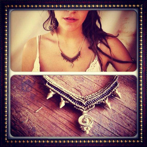 Tribal Macrame necklace With Brass Beads by PrimitiveTribalCraft, $57.00