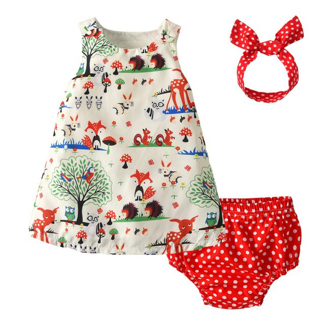 US Newborn Toddler Kids Baby Girl Outfit Clothes Tops Dress Pants Headband Set