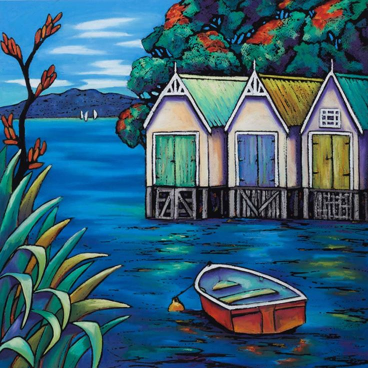 Parnell Gallery artist Helena Blair The Boatsheds http://www.parnellgallery.co.nz/artworks/artist-helena-blair/the-boatsheds/