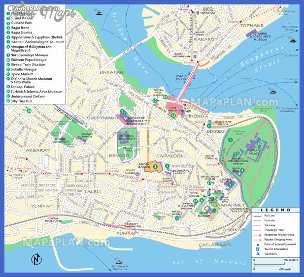 nice Istanbul Map Tourist Attractions