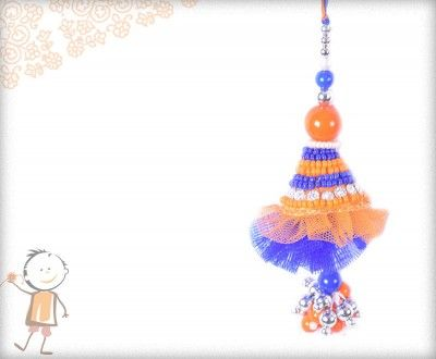 Lumba Rakhi - Send Online #Lumba #Rakhi – online rakhi. EXCLUSIVE BLUE-ORANGE PEARL LUMBA, surprise  loved ones with roli chawal, chocolates and a greeting card as it is also a part of our package and that too without any extra charges. http://www.bablarakhi.com/