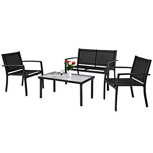 Tangkula Patio Furniture Set 4 Pcs Tempered Glass Coffee Table
