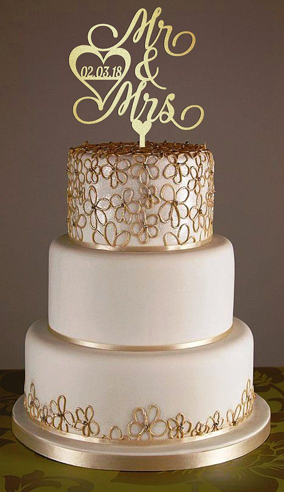 Personalized Wedding Cake Topper With Date Love Cake