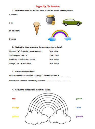 Peppa Pig the Rainbow Video Worksheet