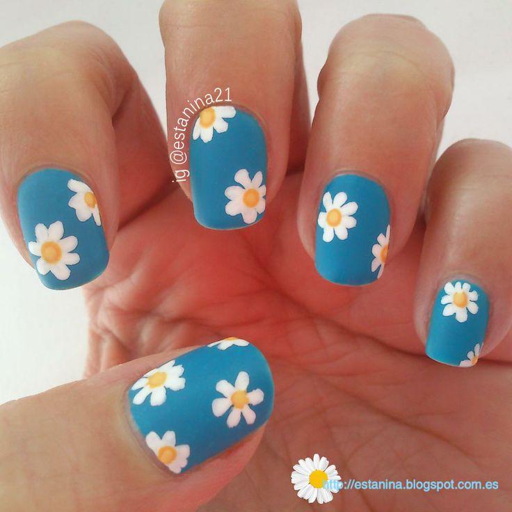 Uñas decoradas con Margaritas, versión mate.... Daisies nails - Matte ♥(ˆ⌣ˆԅ)