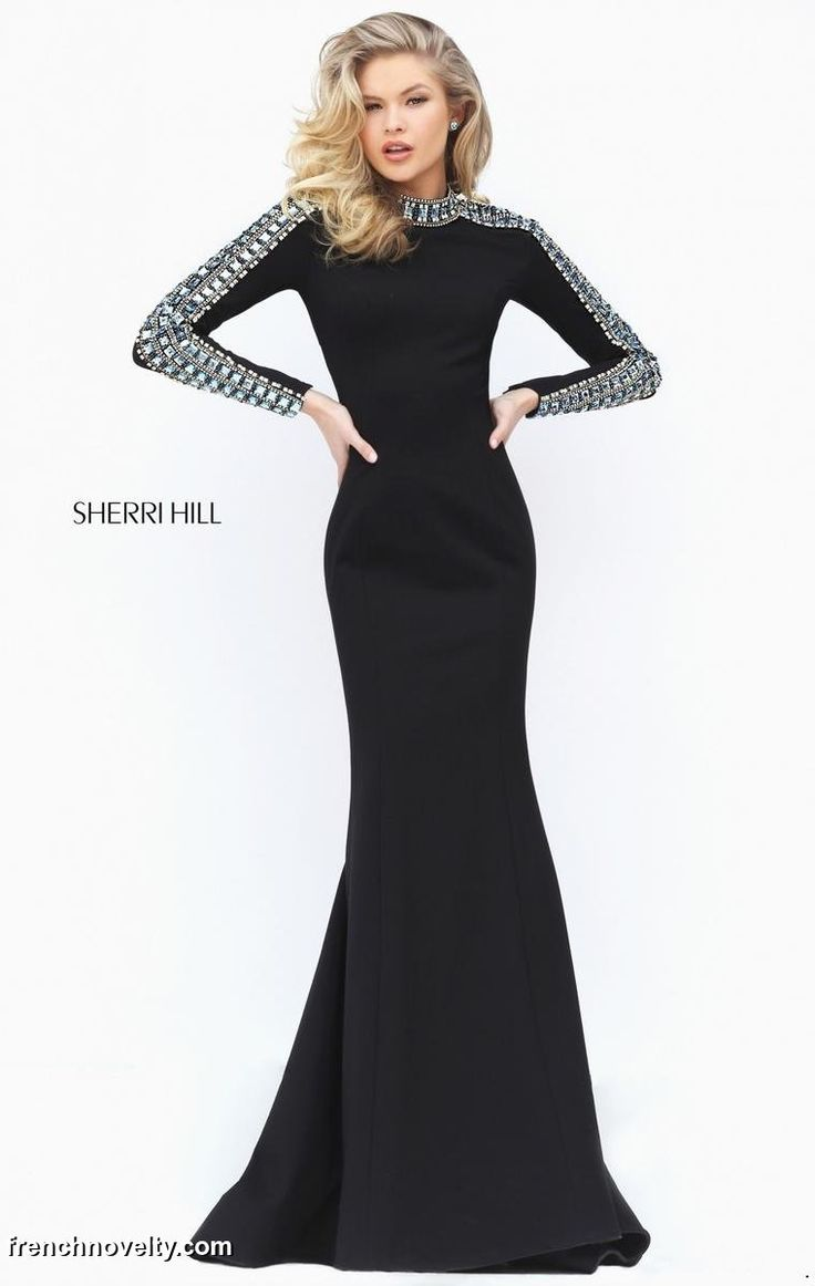 Sherri Hill 50611 is a long evening gown with long sleeves and a cut out in the back.