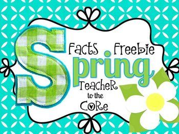 """Facts, Facts, Facts!  This cute little freebie helps your students practice their~ math facts to 10~ math facts to 20~ recall/ retelling of spring facts~ informational writing skills Included for you are 6 inch letters that spell """"Spring Facts""""~Letters are a mix of adorable pink polka dots and sherbet-y orange.If you love this freebie, please follow my store as a way of knowing about future freebies like this.Enjoy!Katie"""