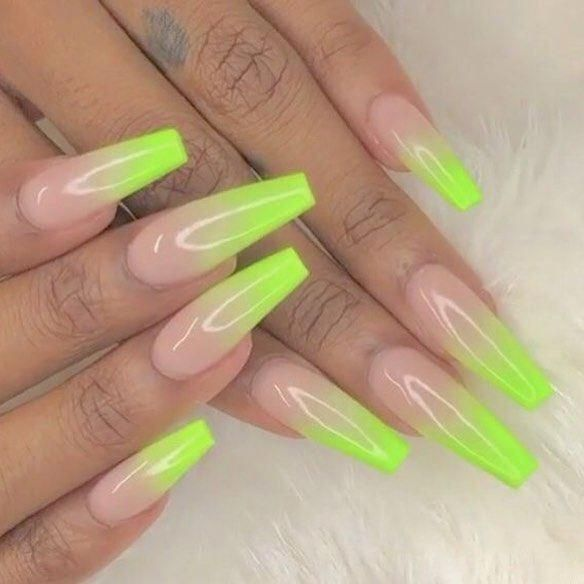 Lime Green Ombre Nails Ombre Acrylic Nails Coffin Nails Designs Long Acrylic Nails