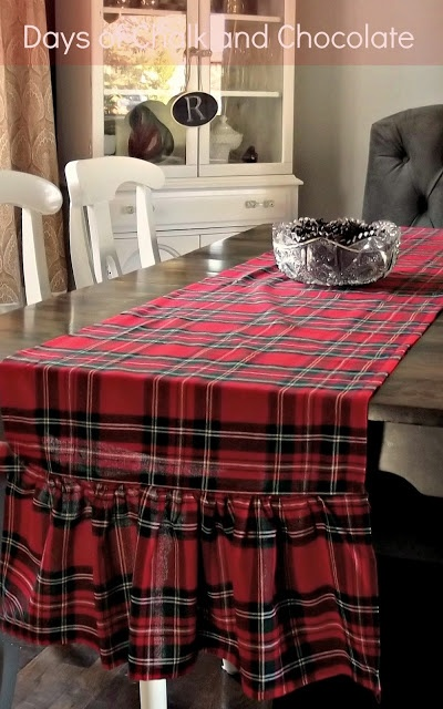 Days of Chalk and Chocolate: Red Plaid Runner (Christmas Decor)