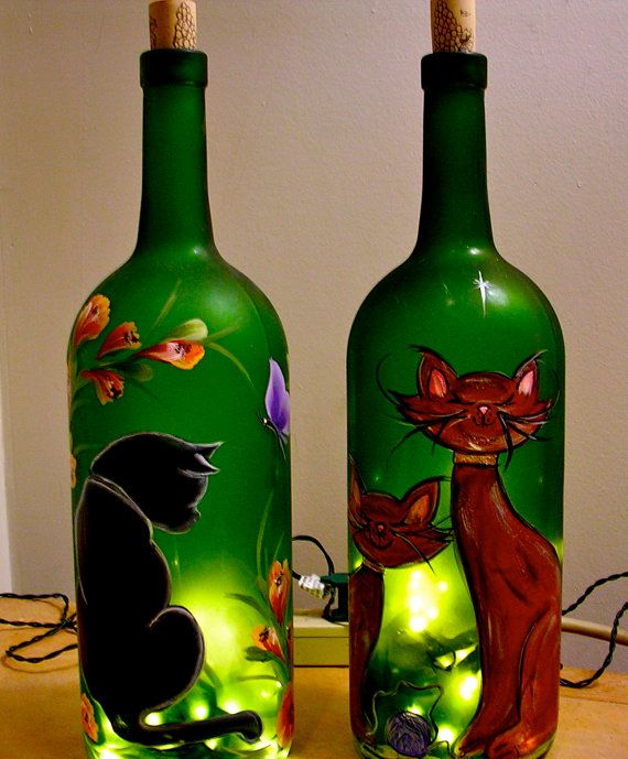 Lighted Wine Bottle / Hand Painted Cat  / Decorative by ArteeVita, $39.00