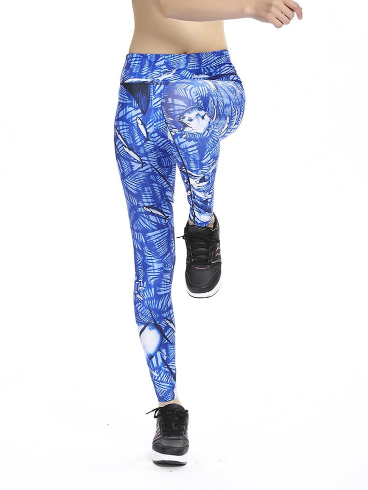 d315e6e2d44 Women Plus Size Slim Quick-dry Print Stretched Gym Running Ninth Yoga Pants  at Banggood