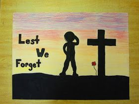 Value lesson with silhouette of powerful messages, images. Runde's Room: Remembering Remembrance Day