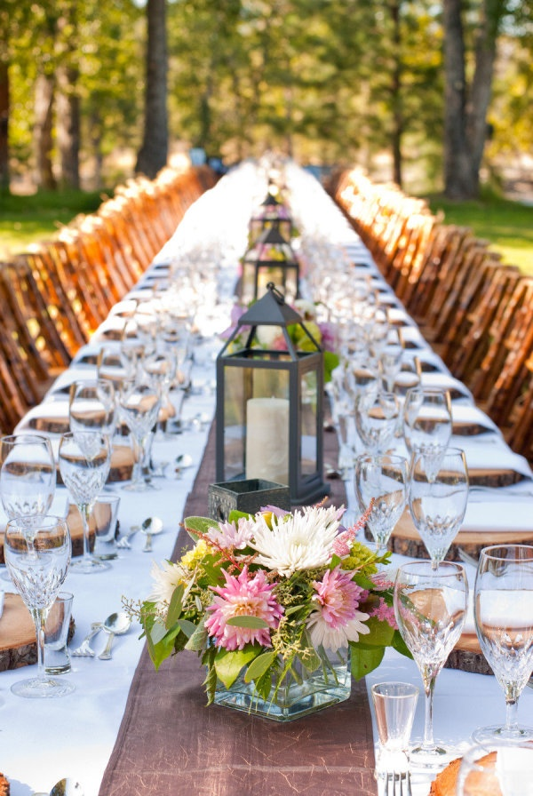 Purple And White Dahlia Centerpieces Black Lantern Outdoor Wedding Reception