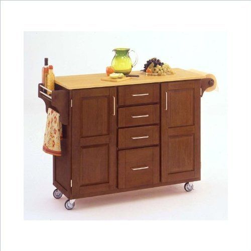 Home Styles 9100-1061 Create-a-Cart 9100 Series Cuisine Cart with Natural Wood Top, Warm Oak, 52-1/2-Inch by Home Styles. $336.68. Made of solid wood, natural asian hardwood with natural wood top and utility drawer. This cart is having four utility drawers and two cabinets, each with an adjustable shelf. Available in warm oak finish. Measures 48-inch width by 17-3/4-inch depth by 35-1/2-inch height. This home styles 9001 series cuisine kitchen cart is a unique and refreshing sol...