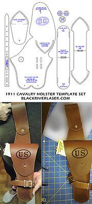 611 best leather cutting and carving patterns images on pinterest 1911 45 cal army cavalry holster template set pronofoot35fo Image collections