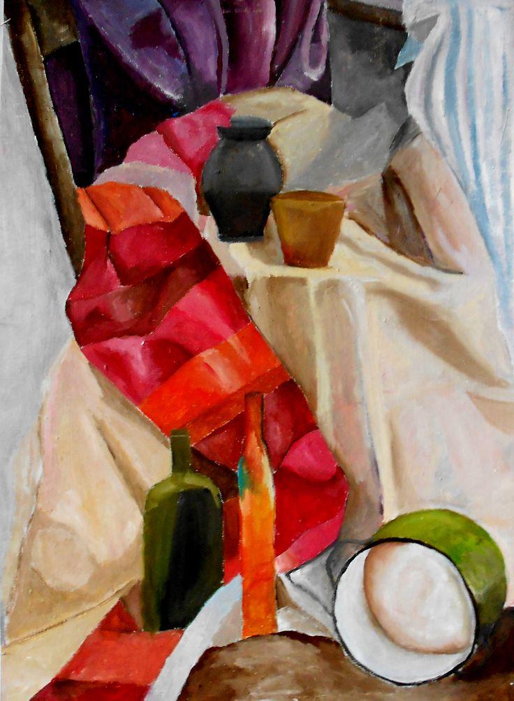 still life acrylic on cardboard 2010