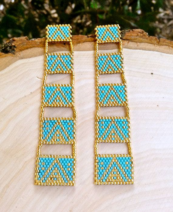 Gold and Turquoise Drop Earrings by wildmintjewelry on Etsy