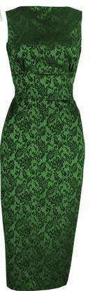 20th Century Foxy 1960s Betty Dress - Emerald Brocade Product Code: DR50_03c