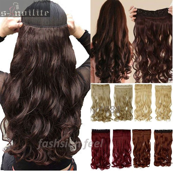 "UK 2-5 FAST SHIPPING 18-28"" Maga Long Curly/Wavy 3/4 Full Head Clip in Hair Extensions Extension Black Brown Blonde Auburn"