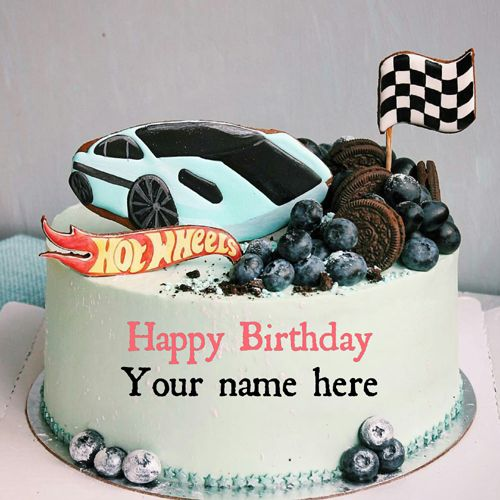 Sports Car Birthday Cake With Name For Brother, write name