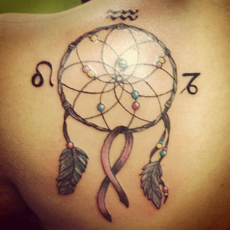 Dream catcher and breast cancer ribbon fashion for Gold ribbon tattoos