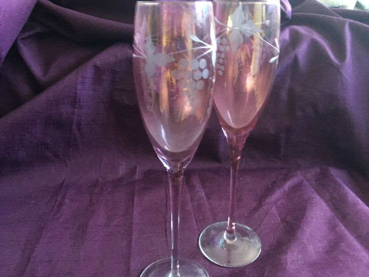 2 Etched Cranberry Champagne Glasses Etched Grape Leaf Flutes Cranberry Glass Stemware Pink Champaign Flutes - USA Shipping is on Us! by EverythingVintageBC on Etsy