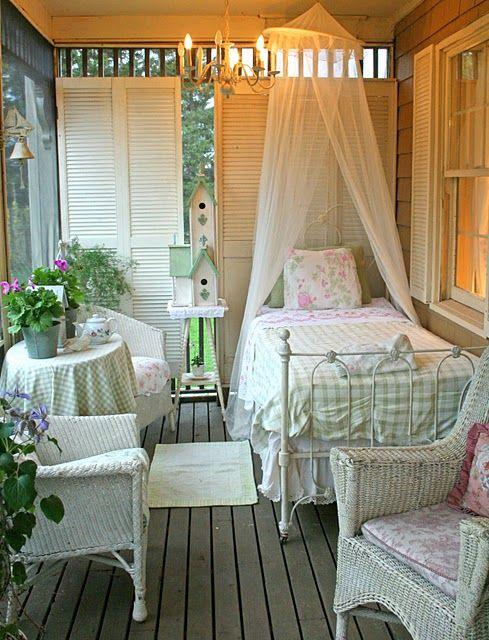 Summer Sleeping Porch - expanding the living space by adding a sleeping area to the porch. Salvaged shutters at the end of the porch add a bit of privacy.