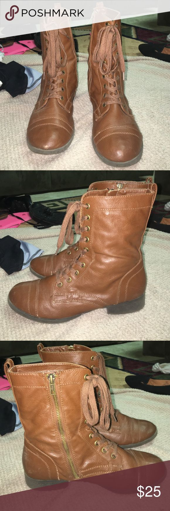 """Brown combat boots #2 In great condition and barely worn, size 8 brown combat boots , zippers on the sides , I can't remember exactly where I got them from , make an offer I am always willing to negotiate on a price , as everything needs to be sold as soon as possible :).       (Last picture is only to show the difference in color between both """"brown combat boots"""") Shoes Combat & Moto Boots"""
