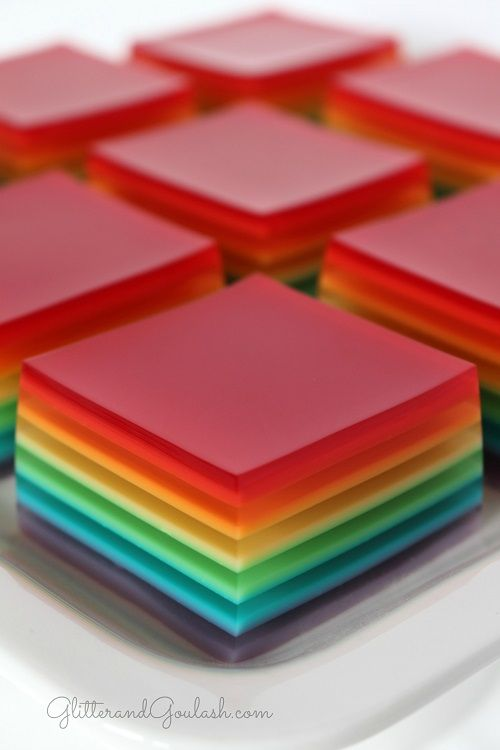 Rainbow Jello Jigglers are a fun treat to have for any party or holiday. They are the perfect finger food, beautiful and delicious!