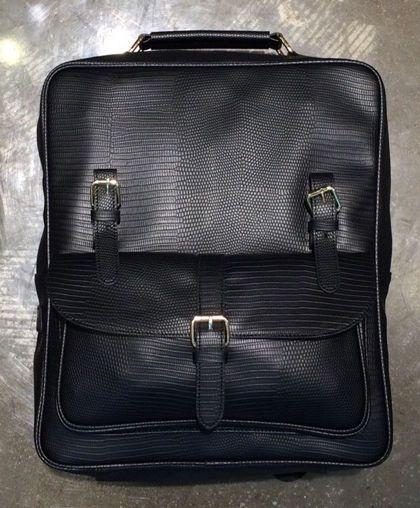 Korea Unisex Rusi Backpack School Travel Business Bag Faux Leather Black Python