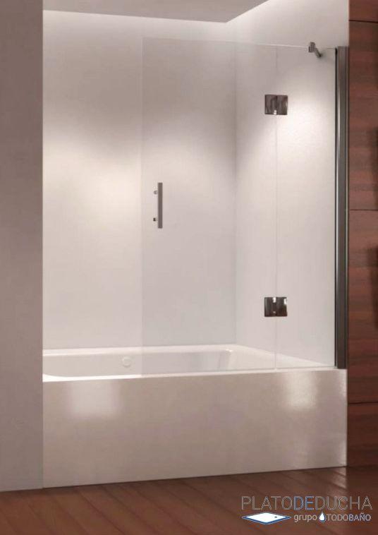 Mampara de bañera Aure. Una hoja fija y una hoja Abatible. Bisagras en Acero Inoxidable y Tratamiento Antical Incluido